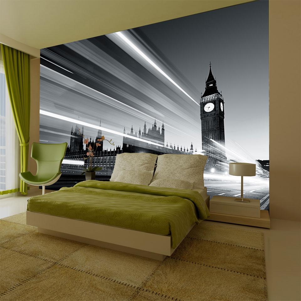 Monochrome Big Ben from Westminster Bridge Wallpaper Mural