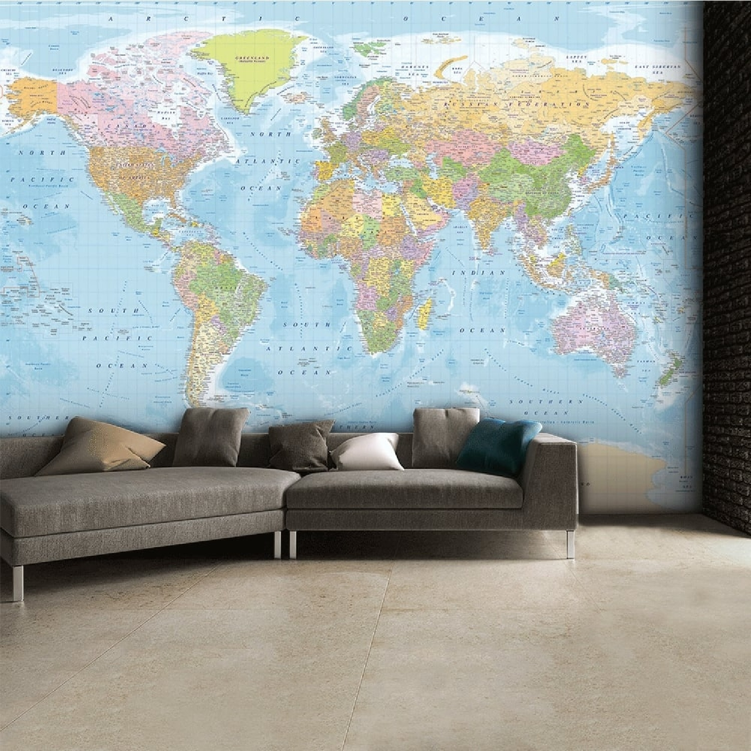 Image of Vintage Blue Map Wall Mural