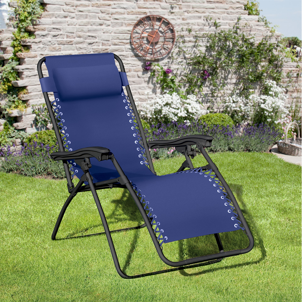 Royal Blue Deluxe Royale Reclining Sunlounger