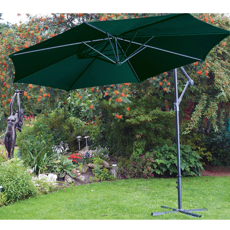 3m Green Free Standing Cantilevered Hanging Parasol