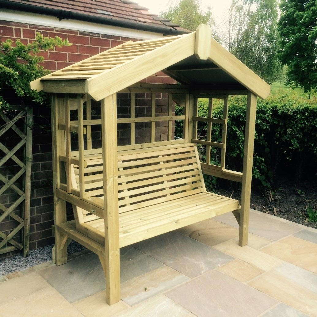 Cottage 3 Seater Arbour with Trellis Back and Sides.