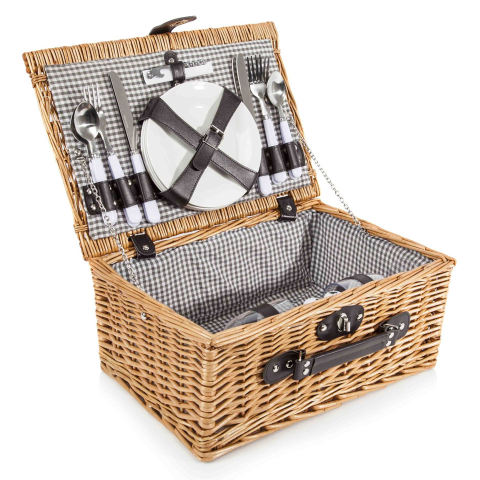 Goodwood Traditional Wicker Picnic Basket for Four