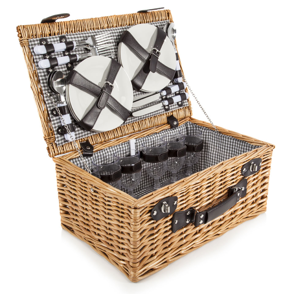 Epsom Traditional Wicker Picnic Basket for Six