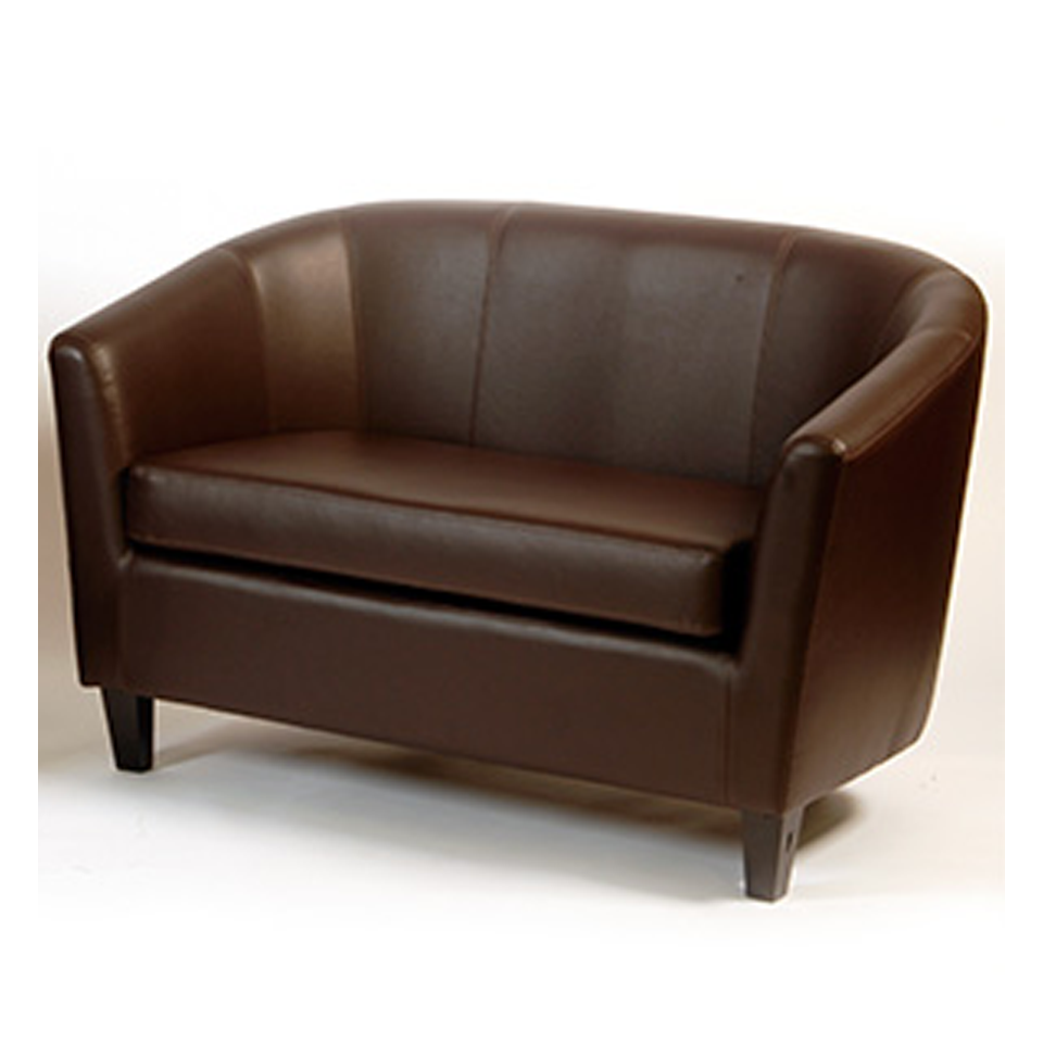 Chocolate Faux Leather Double Tub Chair