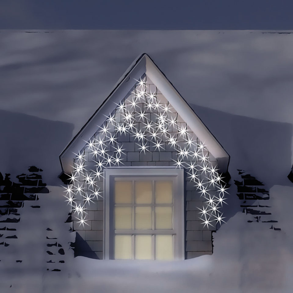 900 Warm & Ice White Snowing Icicle Lights