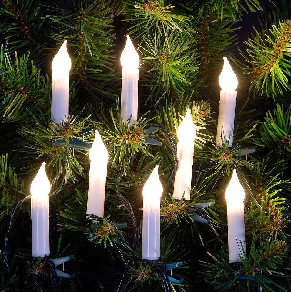 5.7m/ 18ft Set of Warm White Candle LED Christmas Tree Lights