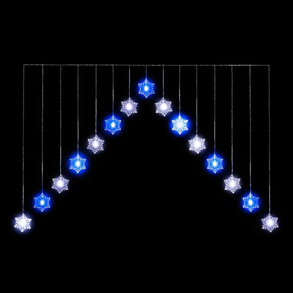 4ft Snowflake 'V' Curtain Light with 15 Blue & White LED