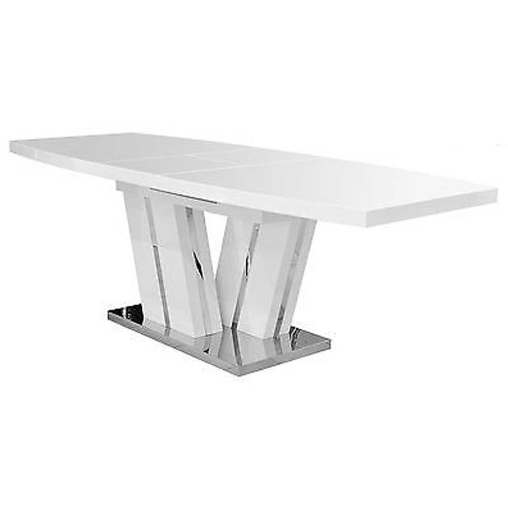 Geremia Extending High Gloss Dining Table - White
