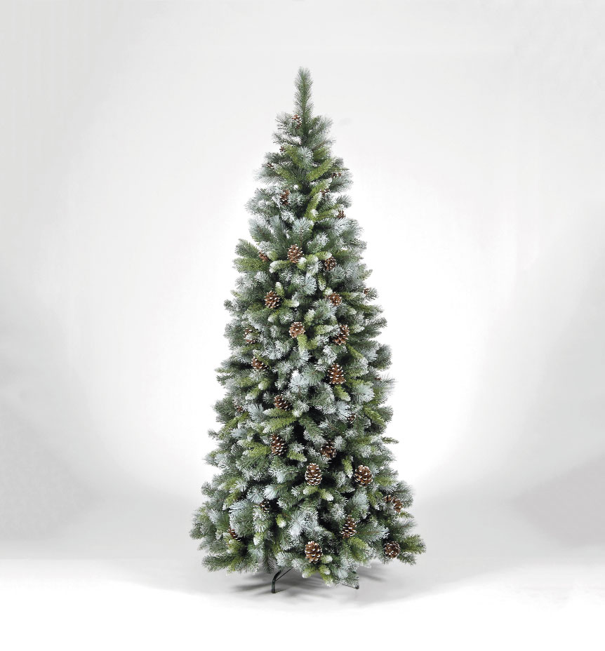8ft Frosted Glacier Tree with Pine Cones
