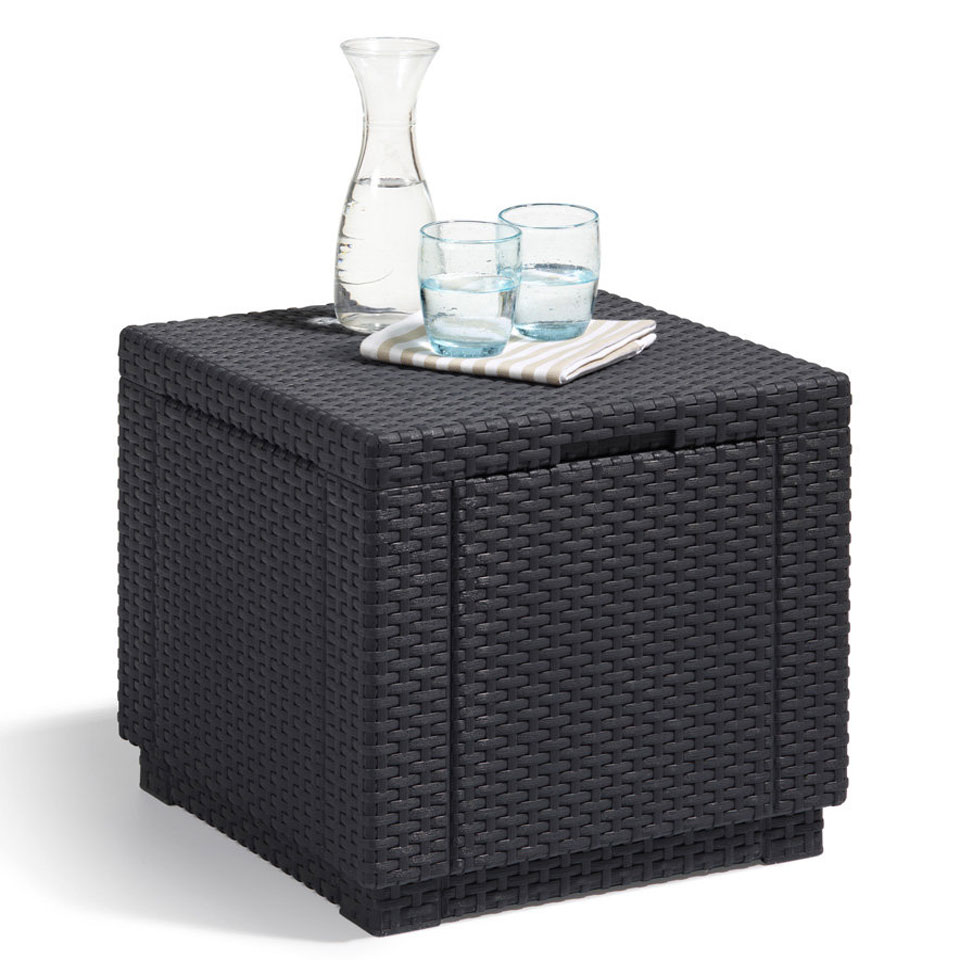 Allibert Cube Graphite Grey Storage Side Table