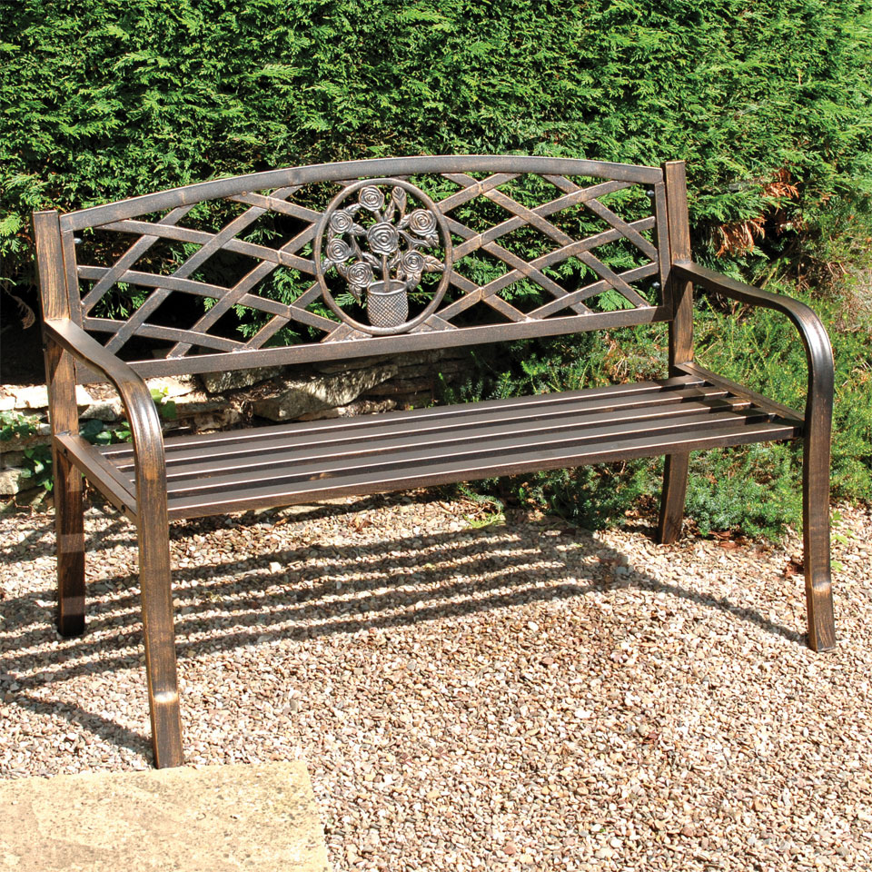 Darby Steel Bench with Antique Bronze Finish