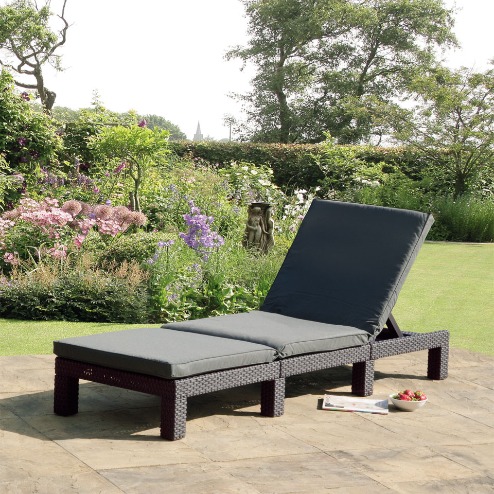 Allibert Monterey Graphite Grey Rattan Sunlounger & Cushion