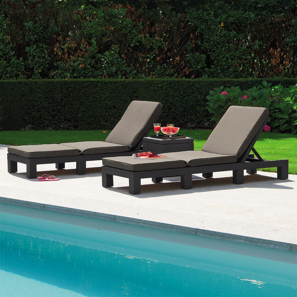 Pair of Allibert Graphite Grey Rattan Daytona Sunloungers
