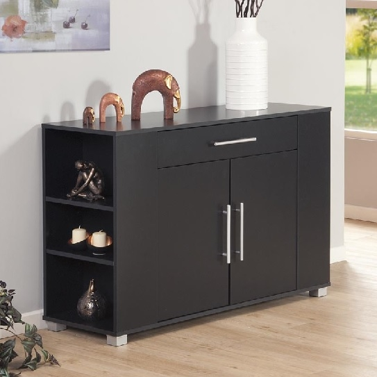 Sorento 2 Door Sideboard with Draw & End Shelf Black
