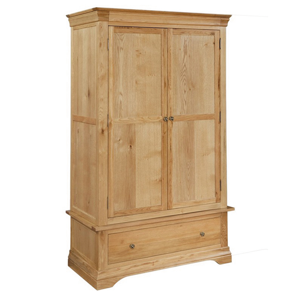 Provence Oak 2 Door Wardrobe with Drawer