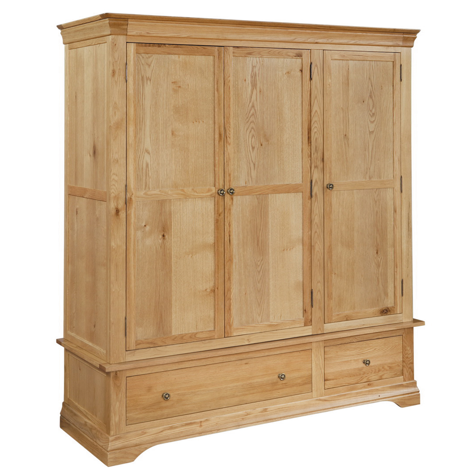 Constance Oak 3 Door Wardrobe with 2 Drawers