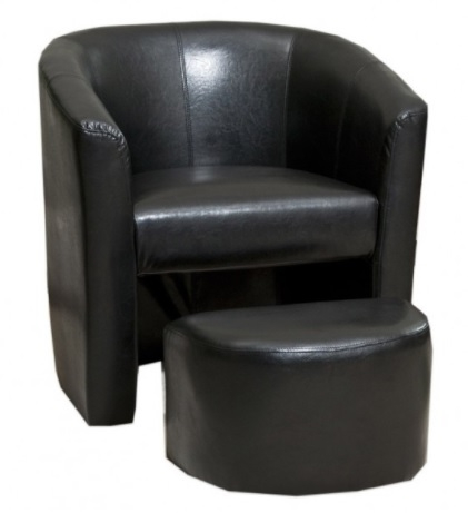 BLACK Tub Chair with footstool