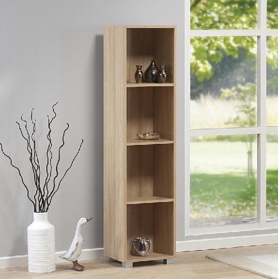 Image of Sorento Narrow Bookcase 4 Tier Oak with Single Door