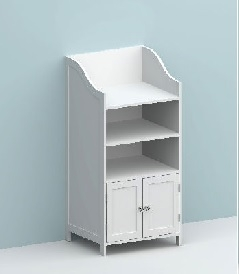 Image of 86cm Plain Front/Side 3-Shelf Unit/2 Doors/Cryst Handles/KD
