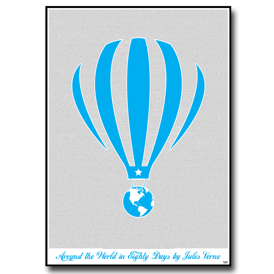 Around the World in Eighty Days Text Wall Print
