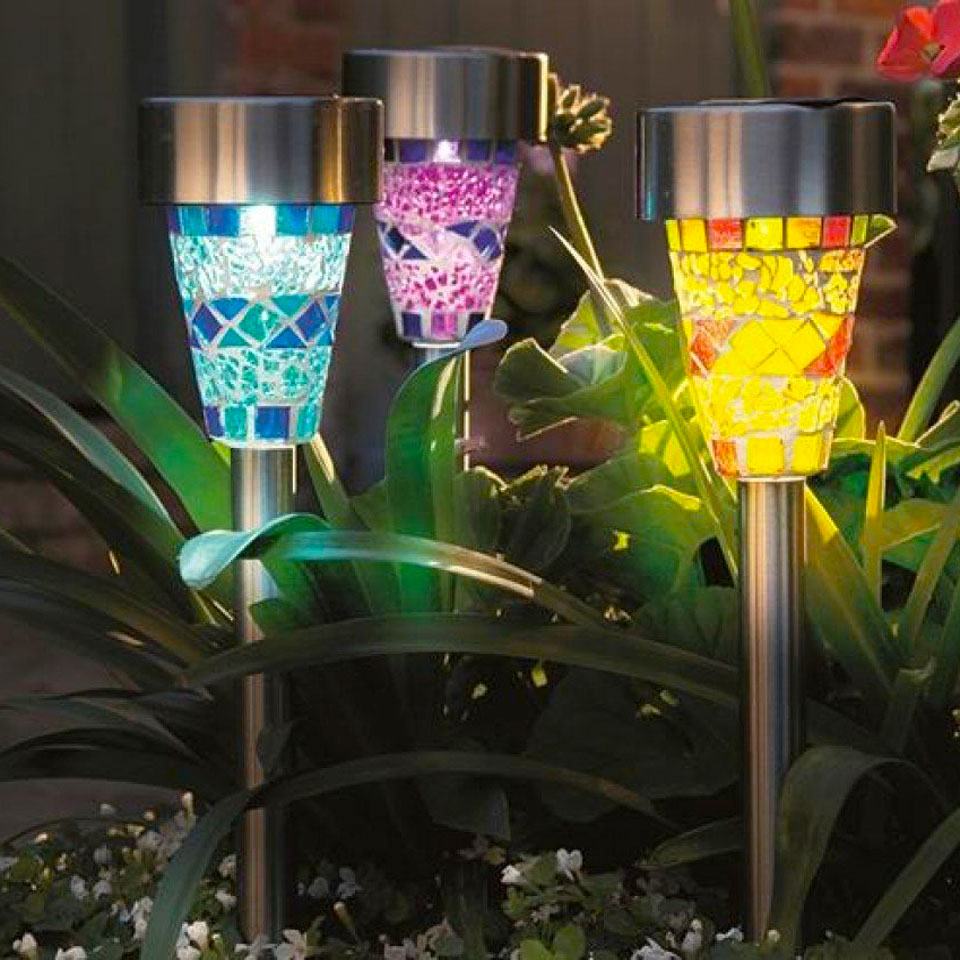 Set of 3 Mosaic Blue, Purple & Yellow Border Solar Lights