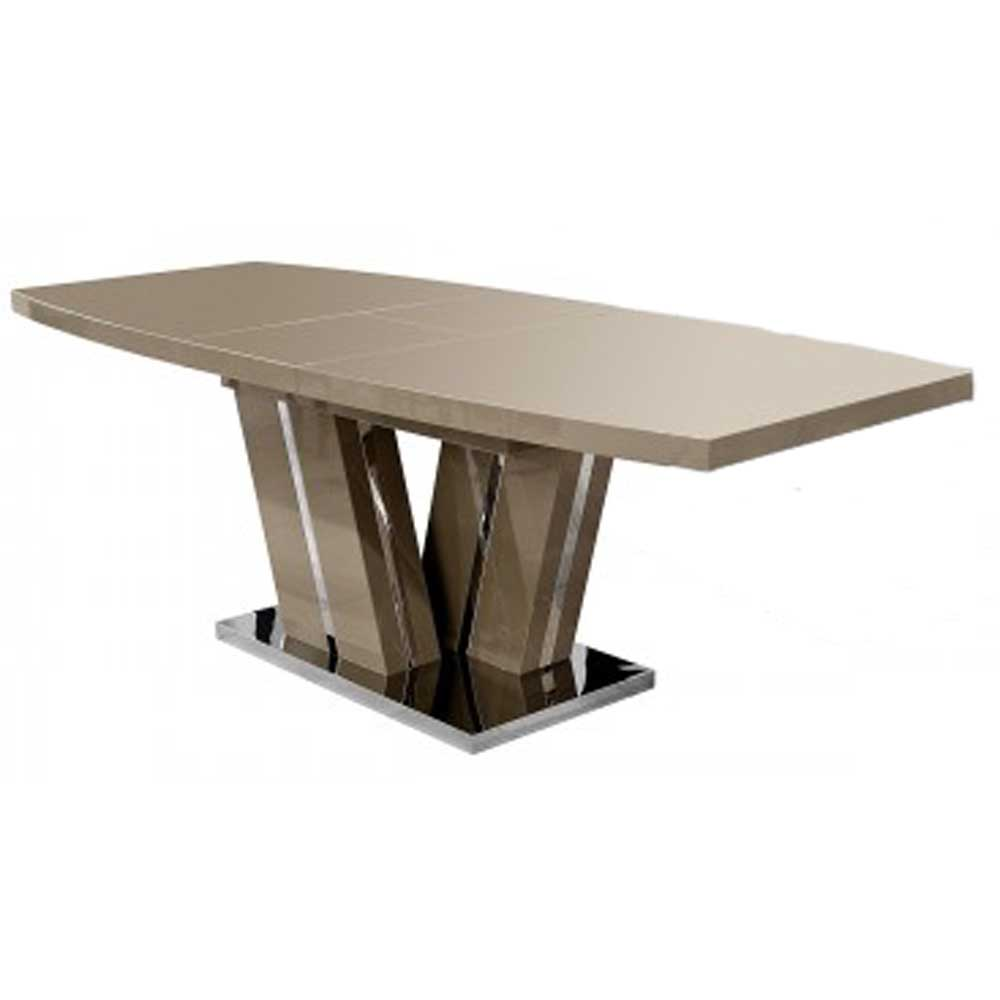 Geremia Extending High Gloss Dining Table - Camel Brown