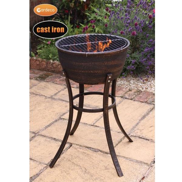 Elidir Cast Iron Tall Firebowl with BBQ Grill