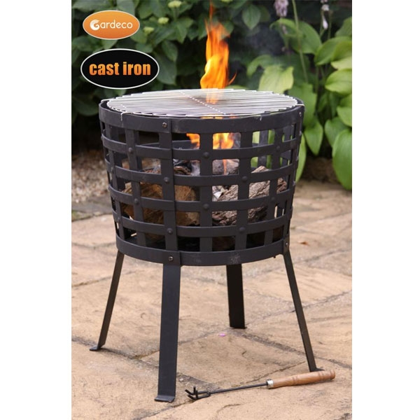 Cast Iron Fire Basket with BBQ Grill