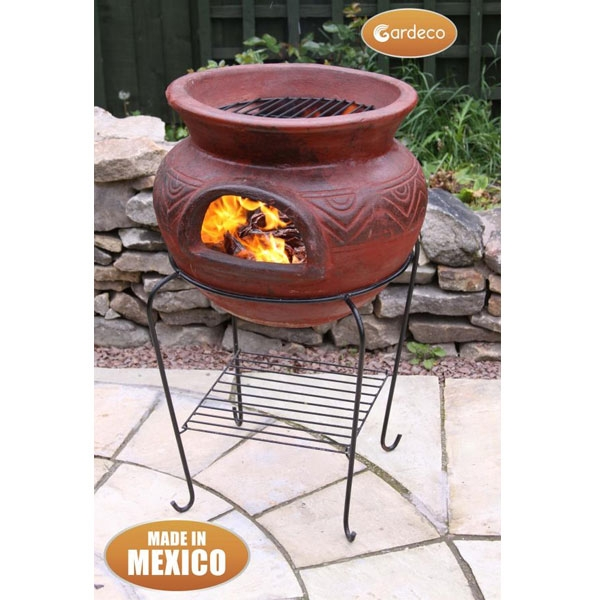Asador Redondo Large Round Red Clay Mexican BBQ with Grill