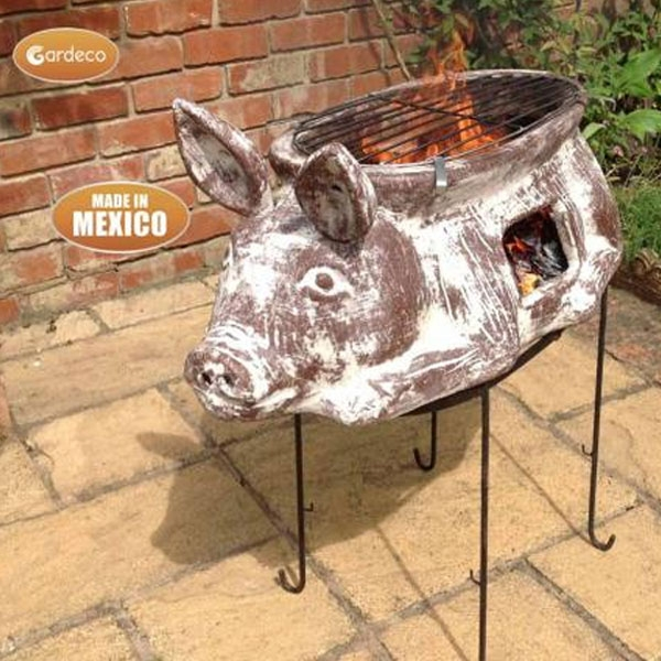 Asador Cerdito Large Brown Clay Mexican BBQ with Grill