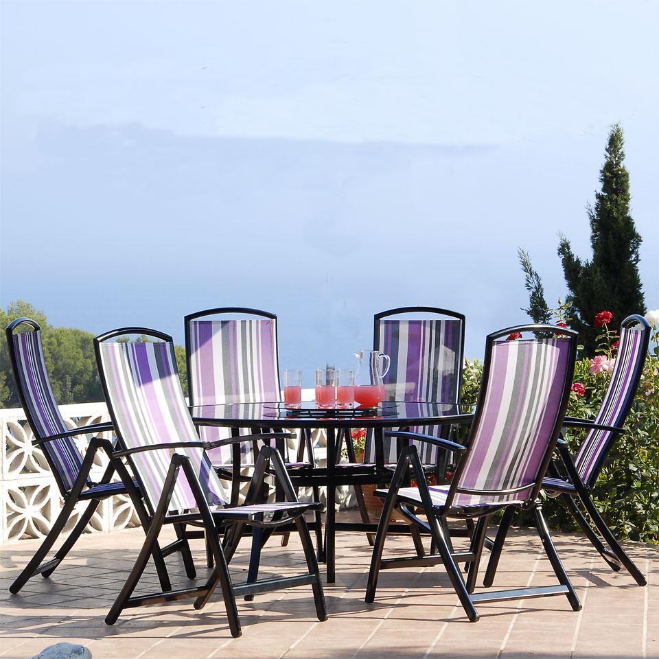 Suntime Antigua 6 Seat 1.5m Round Patio Furniture Set - Purple Stripe