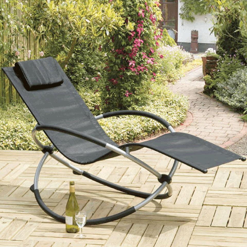 Orbit Black Relaxing Rocking Sunlounger Chair