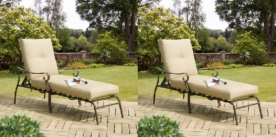 Set of 2 Ferndown Sunloungers with Beige Cushions and Brown Frames