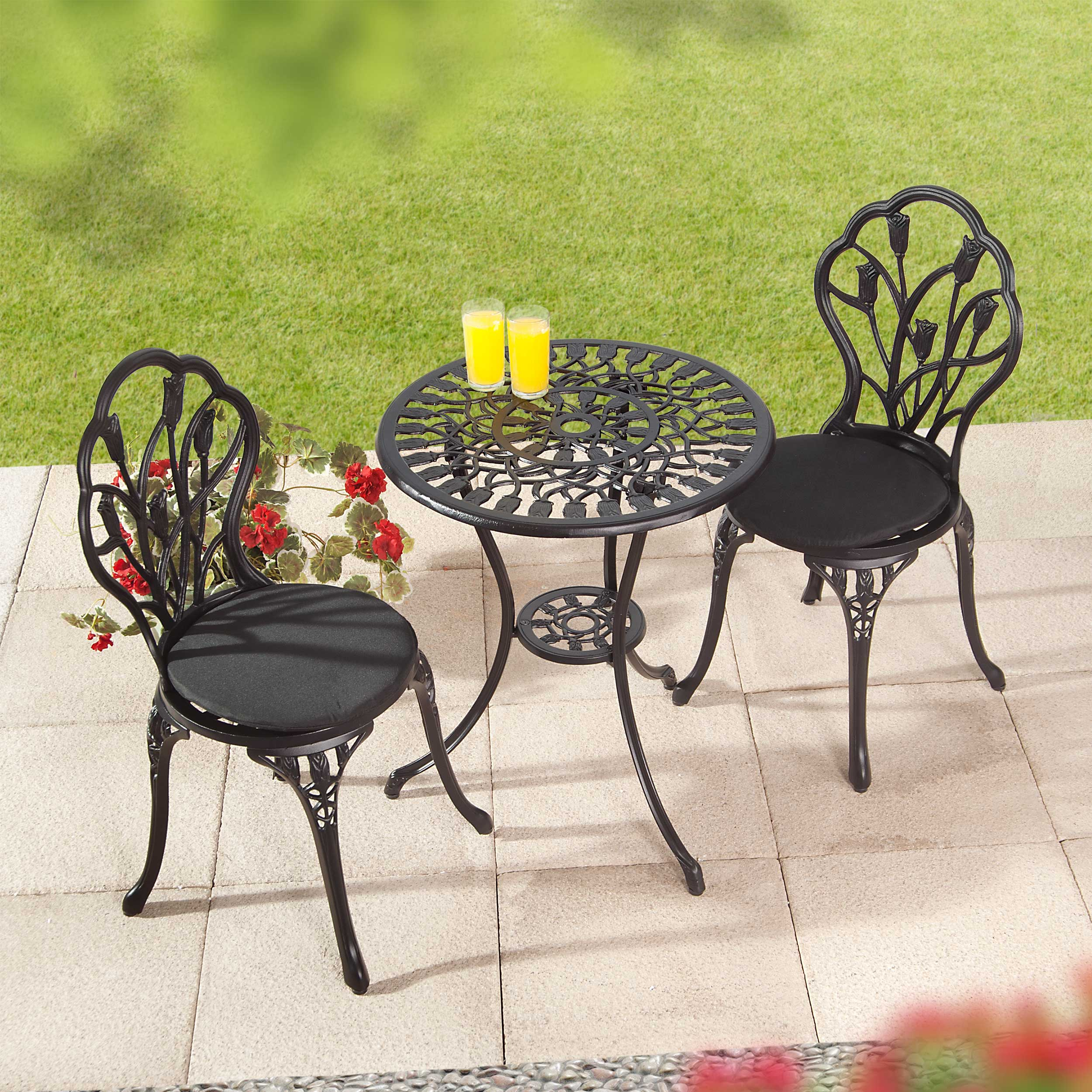 Suntime Perth Black 3Piece Cast Aluminium Garden Set
