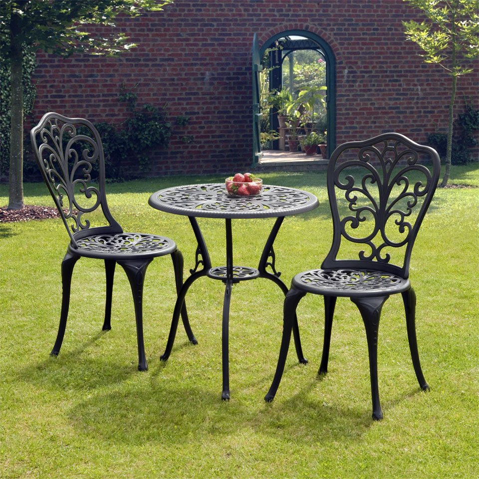 Sussex Black Cast Aluminium Bistro Set