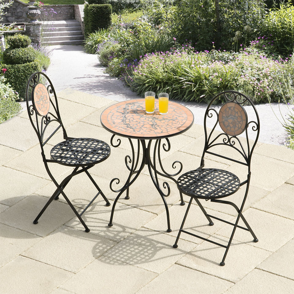 Rocca Broken Tiles & Vines Mosaic Cast Iron Bistro Set