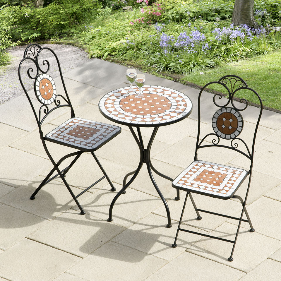 Karima Diamond Mosaic Cast Iron Bistro Set