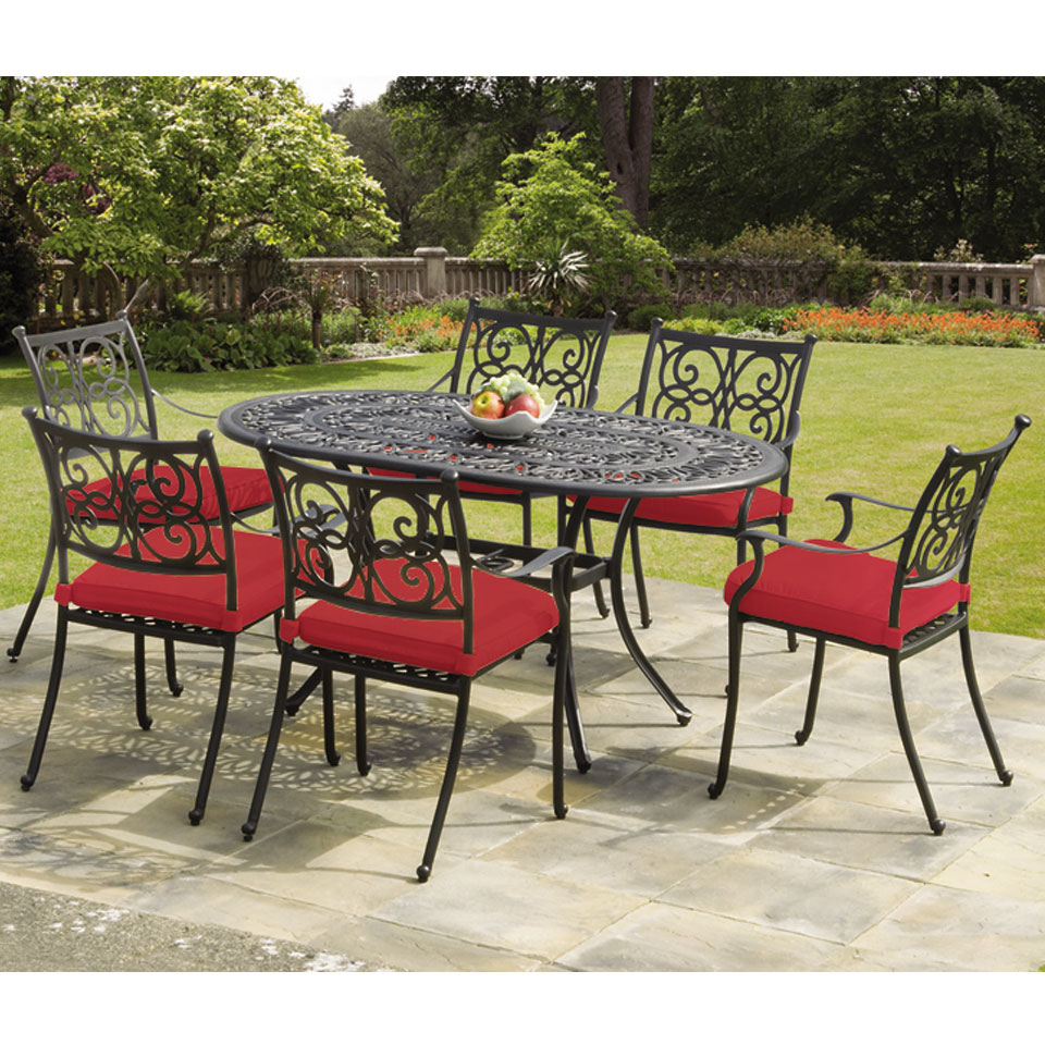 Guildford 6 Seat Cast Aluminium Garden Dining Set with Cushions