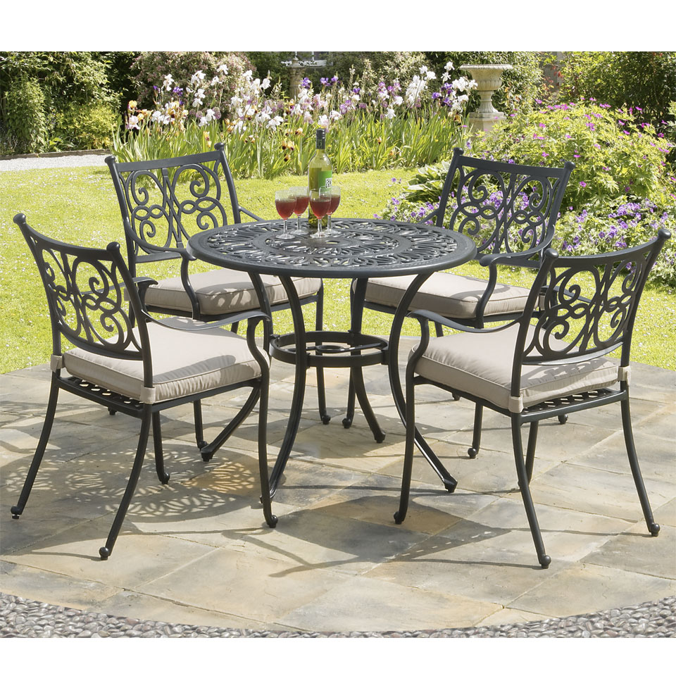 Guildford 4 Seat Cast Aluminium Garden Dining Set with Cushions