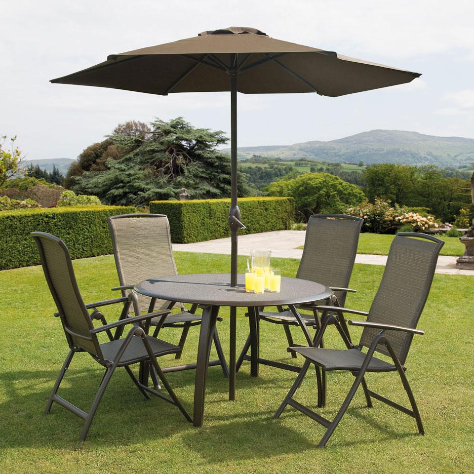 Suntime Havana Spraystone Bronze 1.2m Round 4 Seat Dining Set