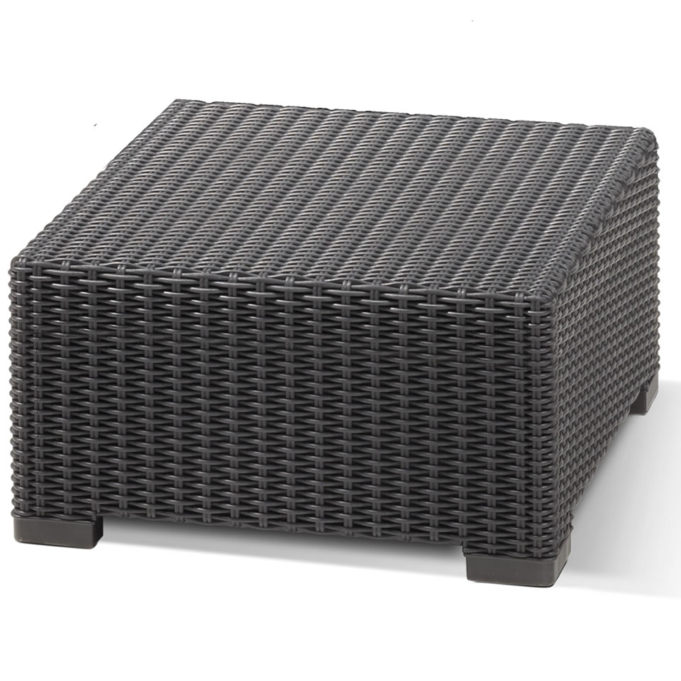 Allibert California Graphite Grey Outdoor Rattan Garden Square Coffee Table Ebay