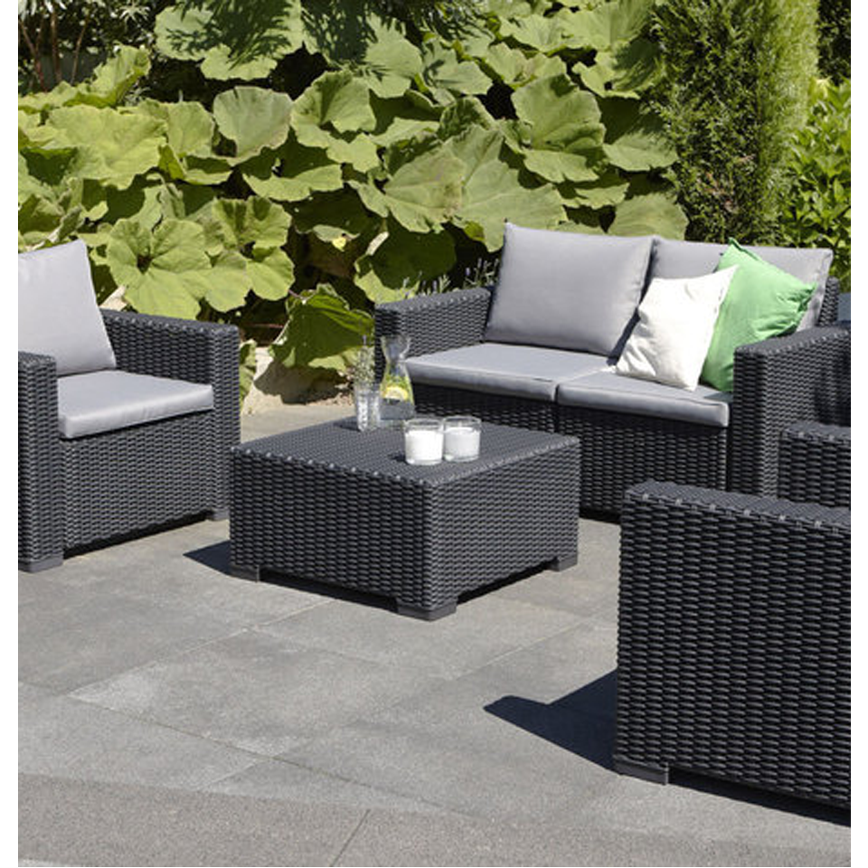 Small Grey Rattan Coffee Table: Allibert California Graphite Grey Outdoor Rattan Garden
