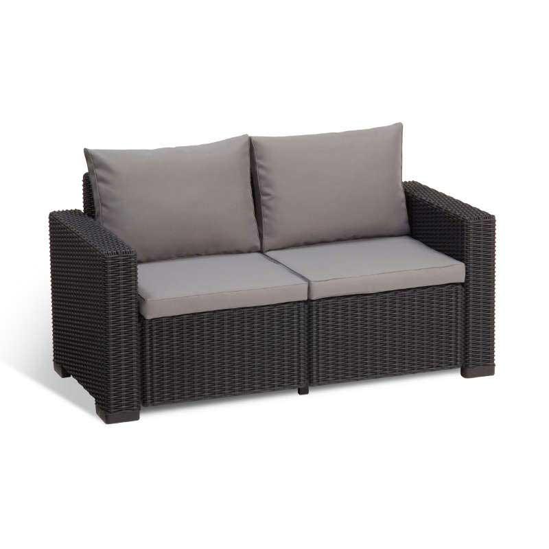 Allibert California 2 Seat Graphite Grey Rattan Sofa