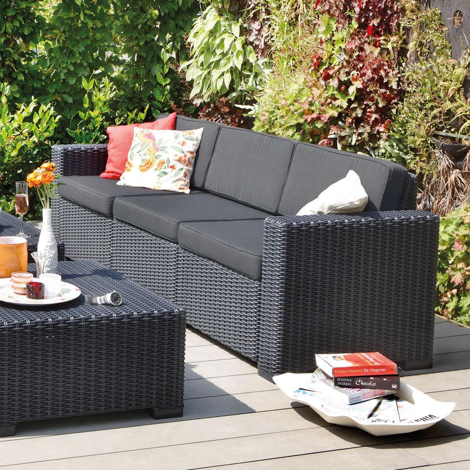 Allibert  California Graphite Grey 3 Seat Rattan Sofa & Cushions