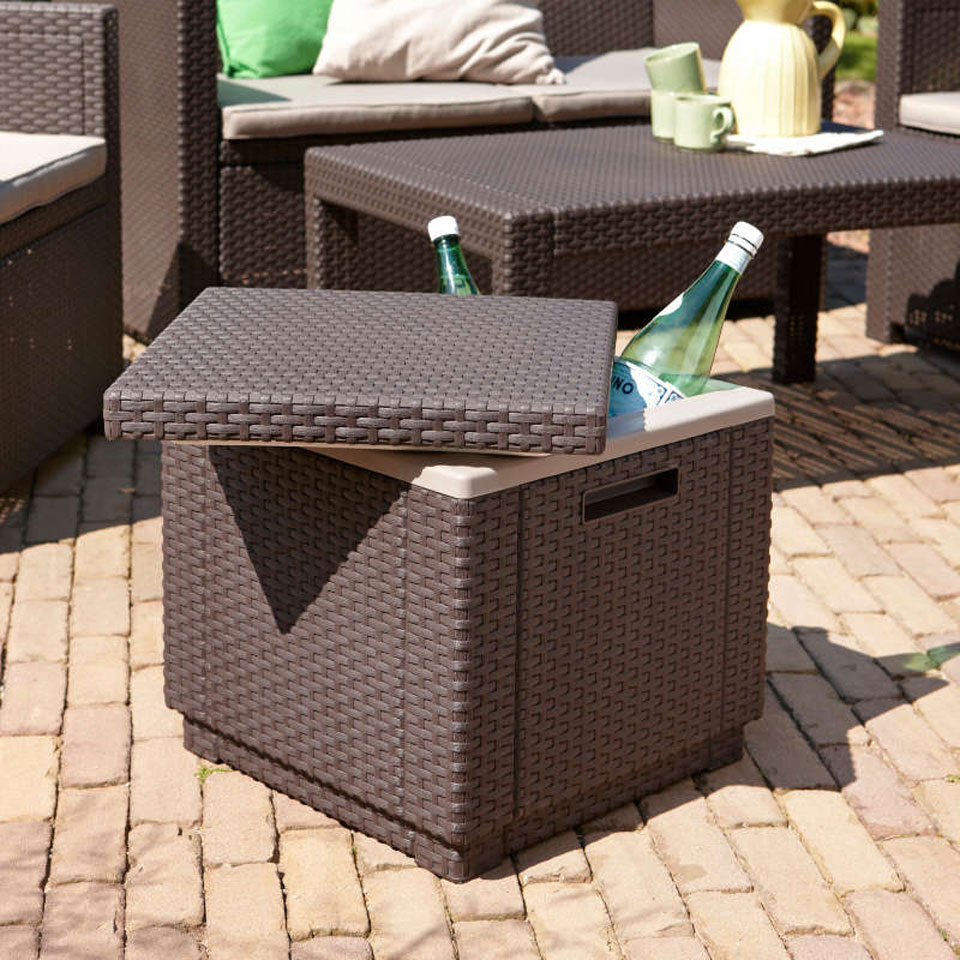 Allibert  Brown Rattan Ice Cube Table