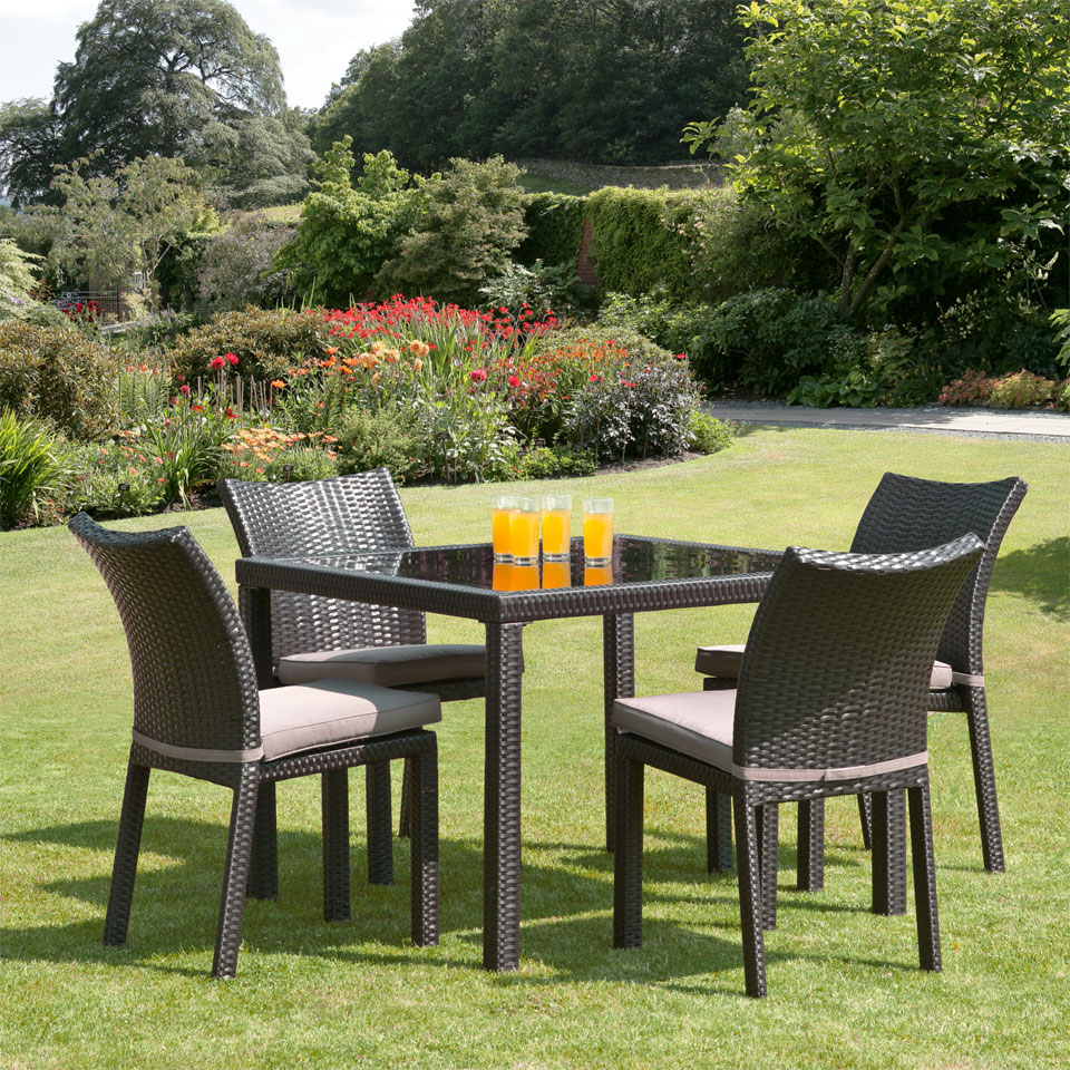 Nevada 1m 4 Seat Brown Rattan Garden Dining Set
