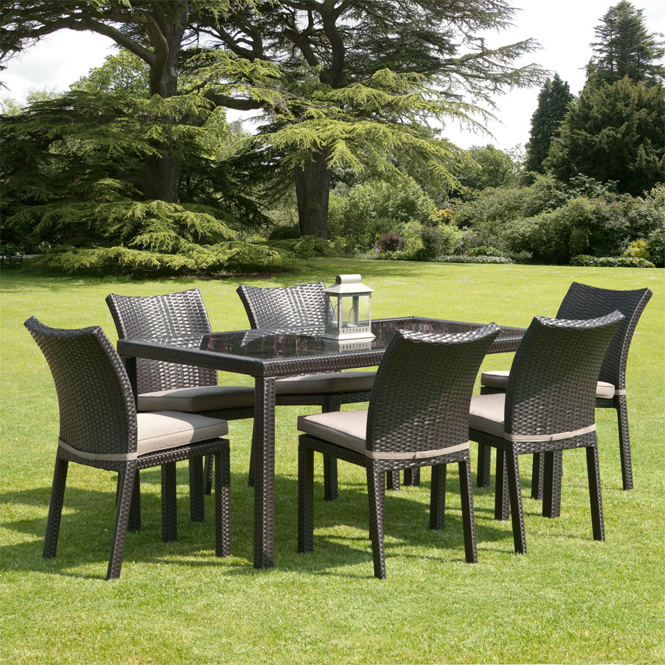 Nevada 1.5m 6 Seat Brown Rattan Garden Dining Set