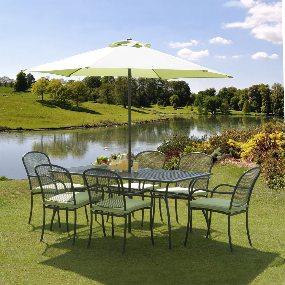 Bentley Lime & Charcoal 1.7m  6 Seat Garden Dining Set