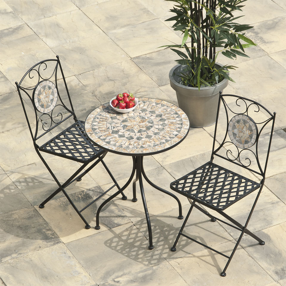 Algiers Mosaic Cast Iron Bistro Set