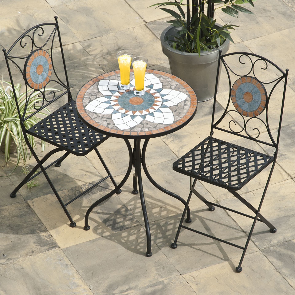 Marrakesh Mosaic Cast Iron Bistro Set